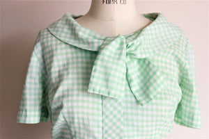 Vintage 1960s Green Gingham Carol Brent Dress with Bow
