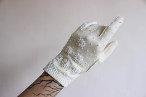 Vintage 1960s Beaded Ivory Gloves, Size 7