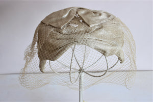 Vintage 1950s Gold Lame Curvette Hat with Veil