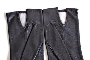 Vintage 1960s Black Leather Gloves, Size 6