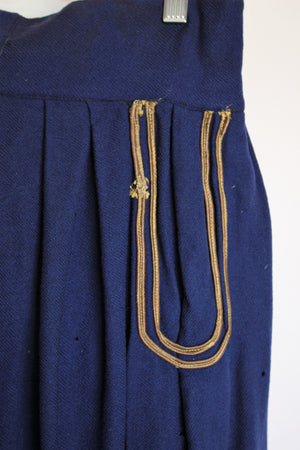 Vintage 1940s Hollywood Costume Blue Wool Military Riding Jodhpurs