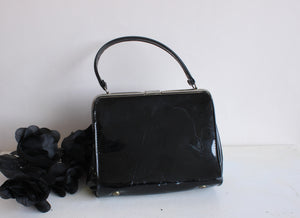 Vintage 1960s Black Patent Leather Purse, JR USA