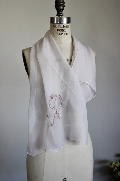 Vintage 1950s White And Gold Scarf With Monogrammed P