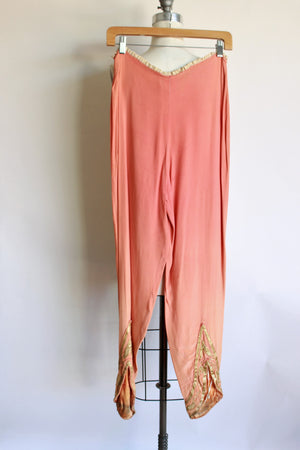 Vintage 1940s Hollywood Costume Orange Silk Pants Oriental Or Arabic