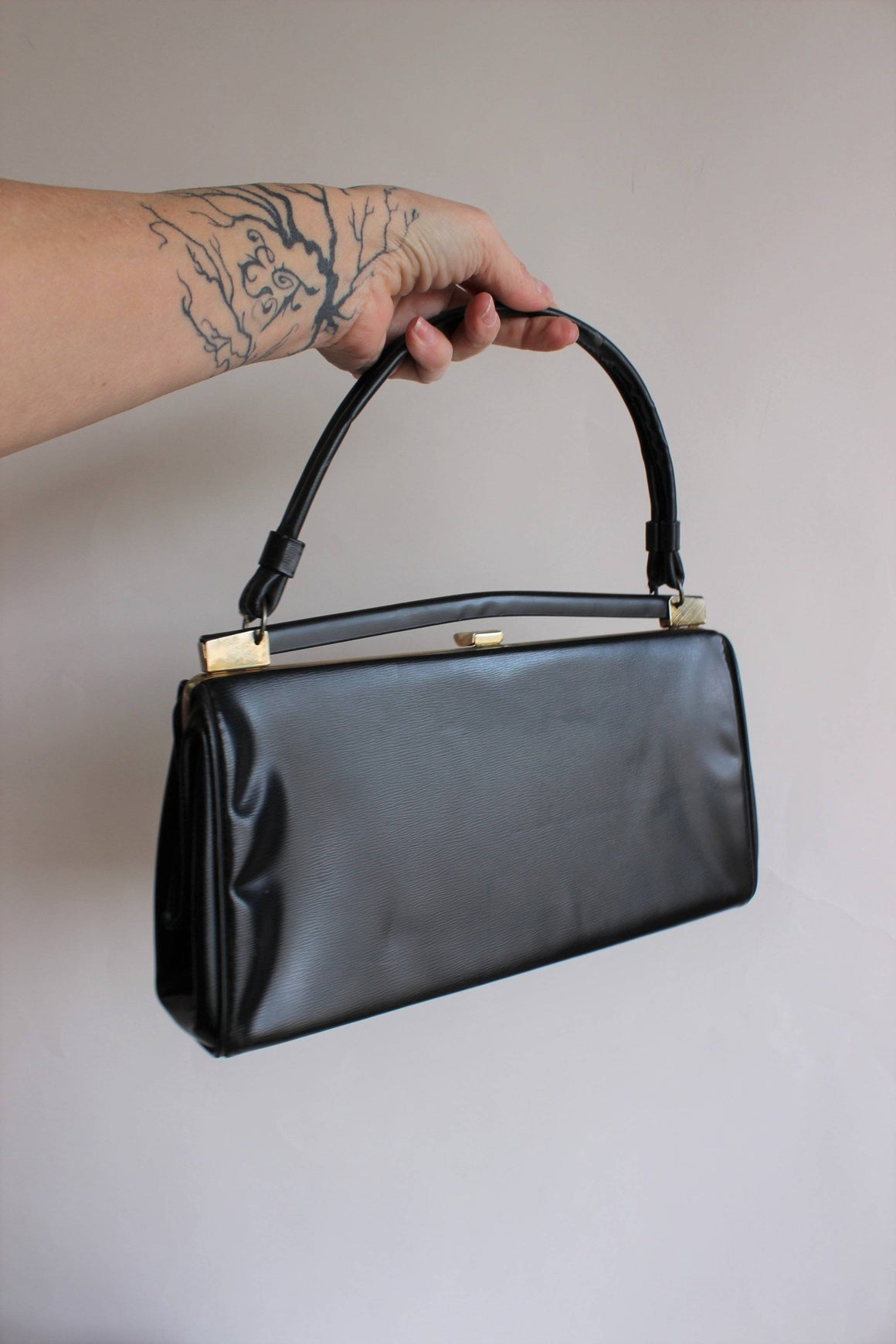 Vintage 1960s Black Honey Bag Purse