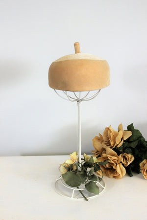 Vintage 1960s I Magnin Camel  Women's Velvet Pillbox Hat