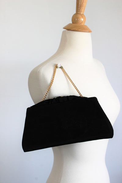 Vintage 1950s Black Faille Clutch Purse