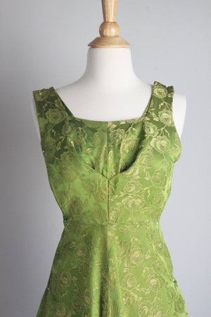 Vintage 1940s Green Damask Fit and Flare Party Dress