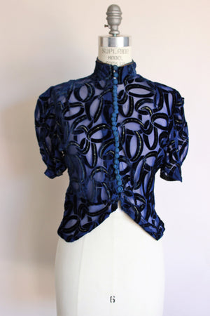 Vintage 1930s Blue Burnout Velvet Blouse with Gold Trim