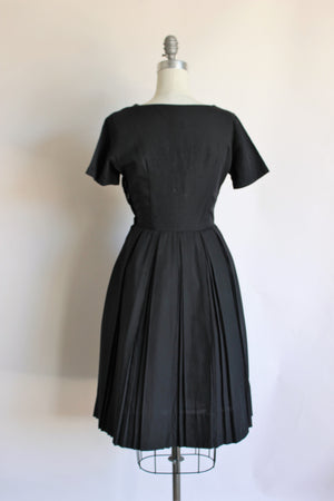 Vintage 1950s Black Fit And Flare Dress by Kay Windsor