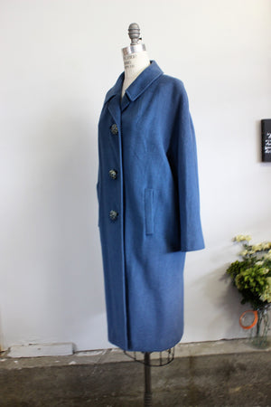 Vintage 1950s Blue Wool Coat