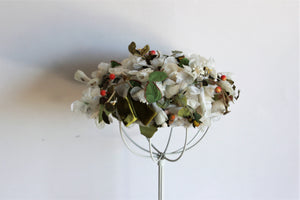 Vintage 1940s 1950s Pillbox Hat Covered With Faux Flowers