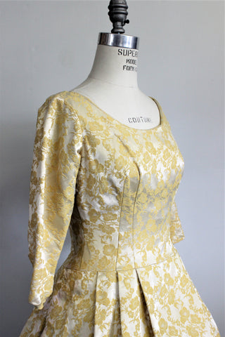 1950s Yellow Brocade Party Dress
