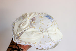 Vintage 1950s Juliette Style Wedding Cap by Miss Lillian For Vogue Bridals