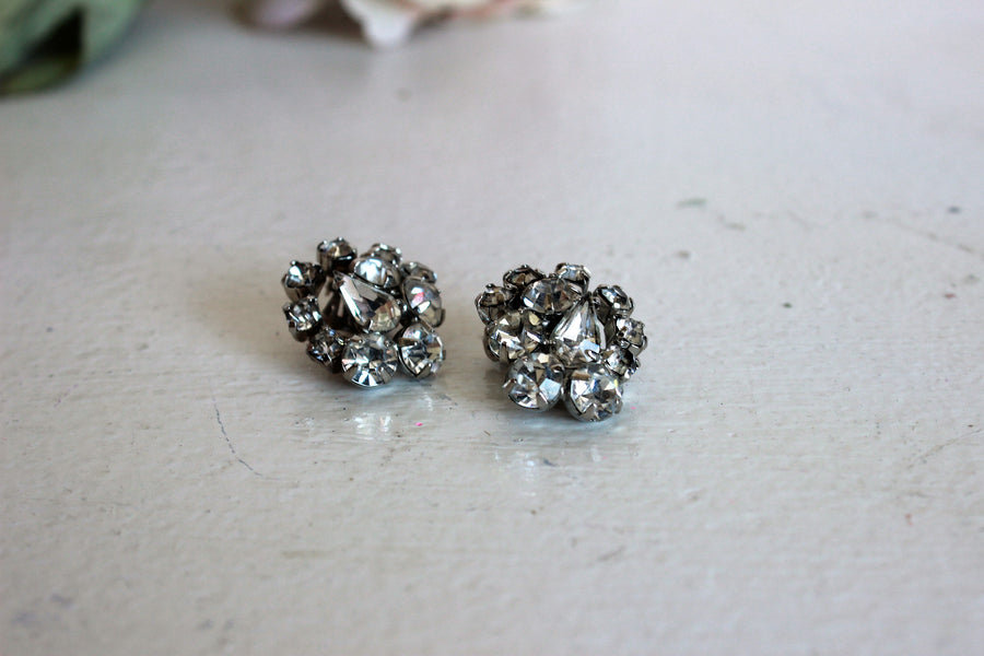 Vintage Rhinestone Cluster Earrings