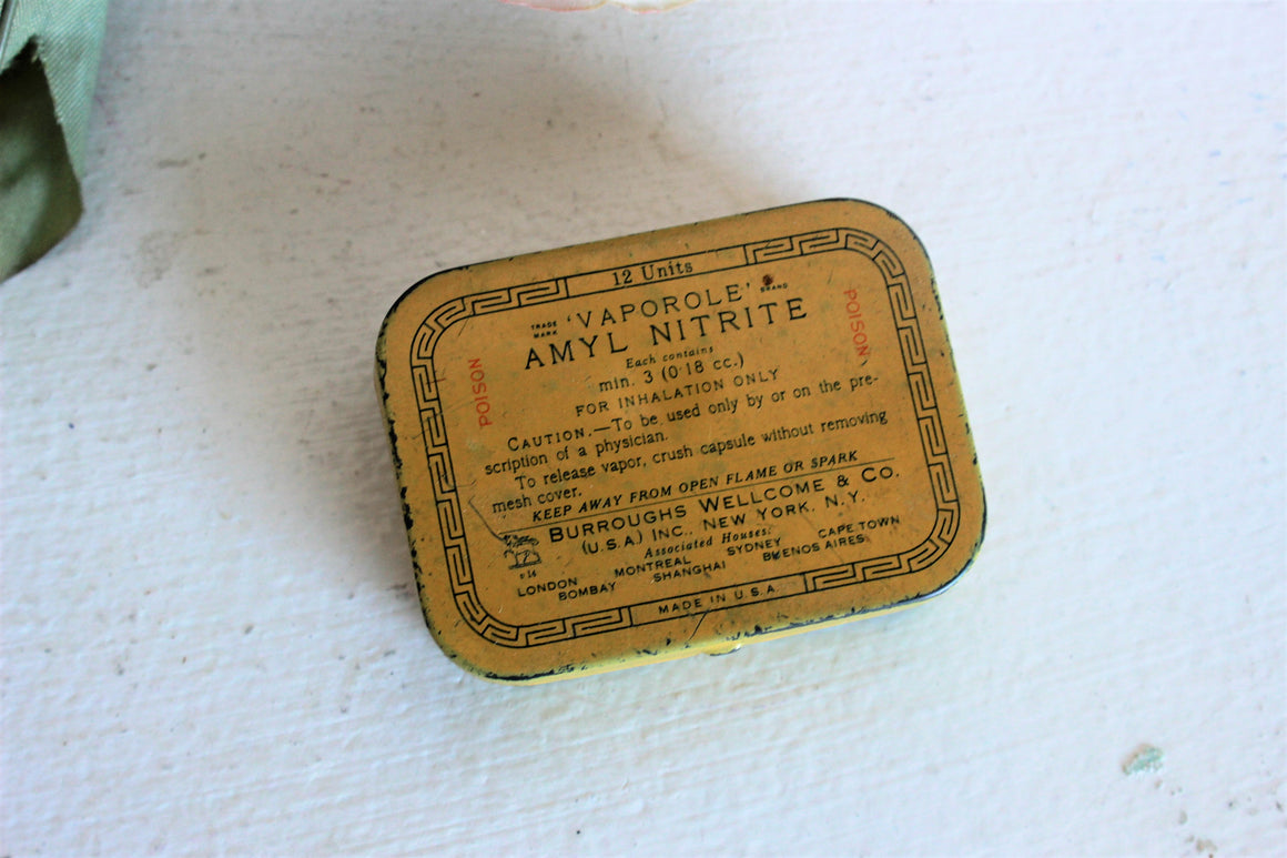 Vintage 1930s Tin, Vaporole Amyl Nitrate Tablets by Burroughs Wellcome