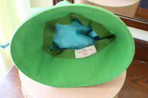 Vintage 1960's or 1970's Green Hat by Rosaline
