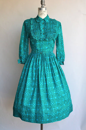 Vintage 1950s 1960s Blue and Green Dress With Belt and Tuxedo Front