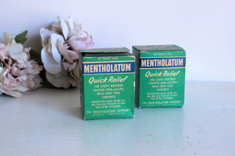 Vintage 1940s or 1950s Mentholatum Jar in Original Box NEW Unopened