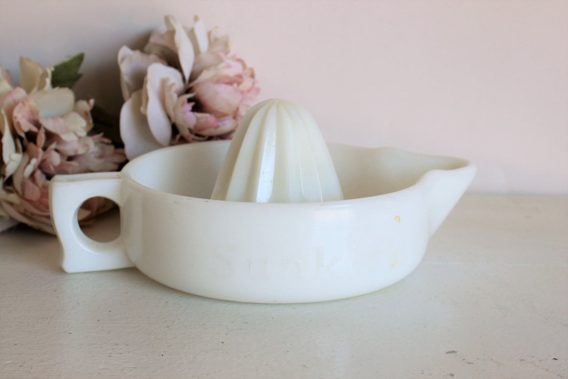 Vintage Mid Century Milk Glass Juicer