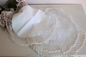Vintage Set of Four Linen Doilies with Crochet Lace Trim