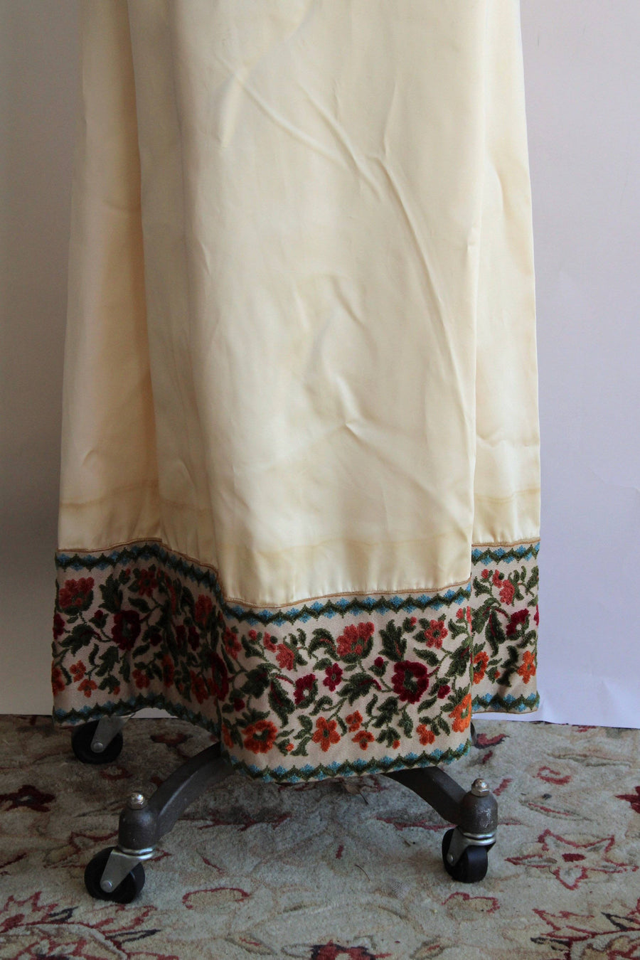 Vintage 1960s Emma Domb Ivory Satin Medieval Inspired Dress