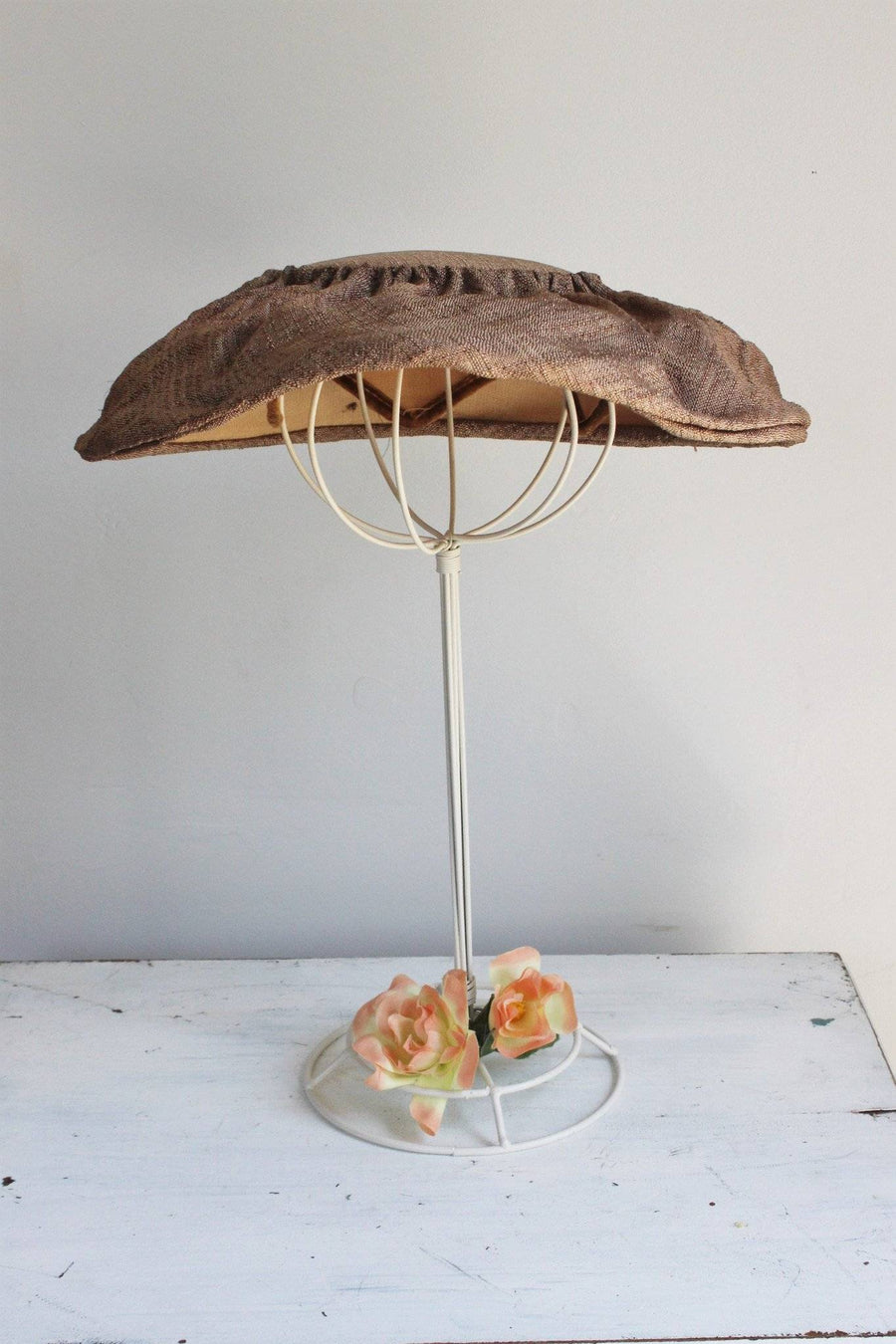 Vintage 1950s Brown Wide Brimmed Mushroom, or Cartwheel Hat
