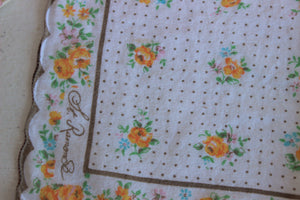 Vintage Cotton Handkerchief With A Yellow Flower Print