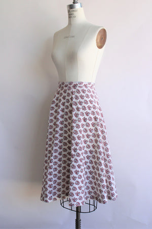 Vintage 1970s Red Leaf Print Skirt