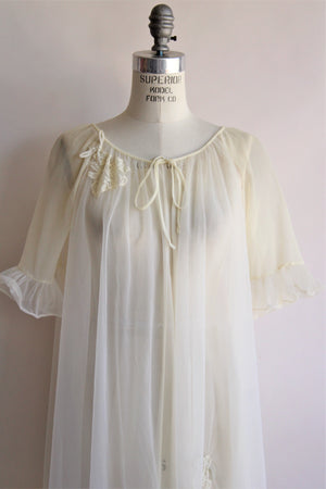 Vintage 1960s Yellow Babydoll Peignoir