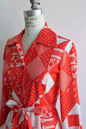 Vintage 1970s Button Down Blouse with Tie Belt