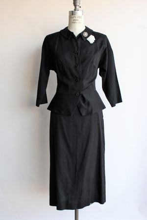 Vintage 1950s Two Piece Black Cotton Suit By Wilshire of Boston