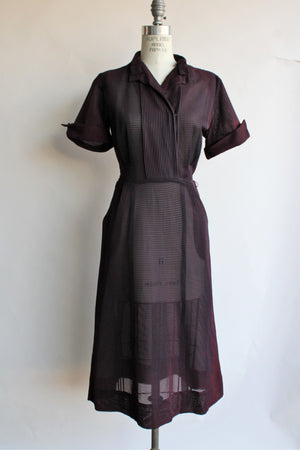 Vintage 1940s Mynette Black Nylon Dress With Pockets