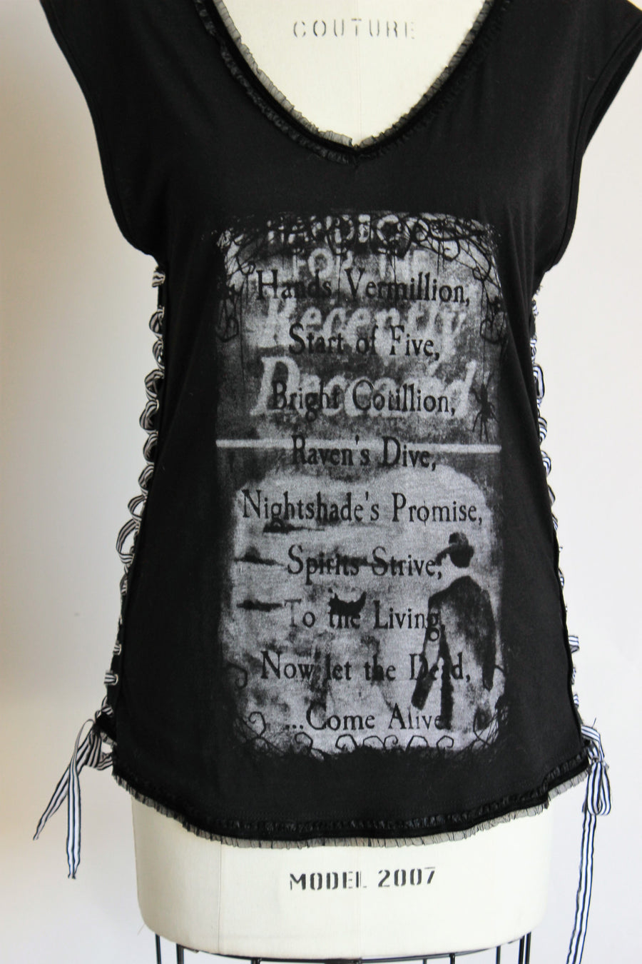 "Malefic Apparel Custom Embellished T, ""For the Recently Deceased"", Size M"