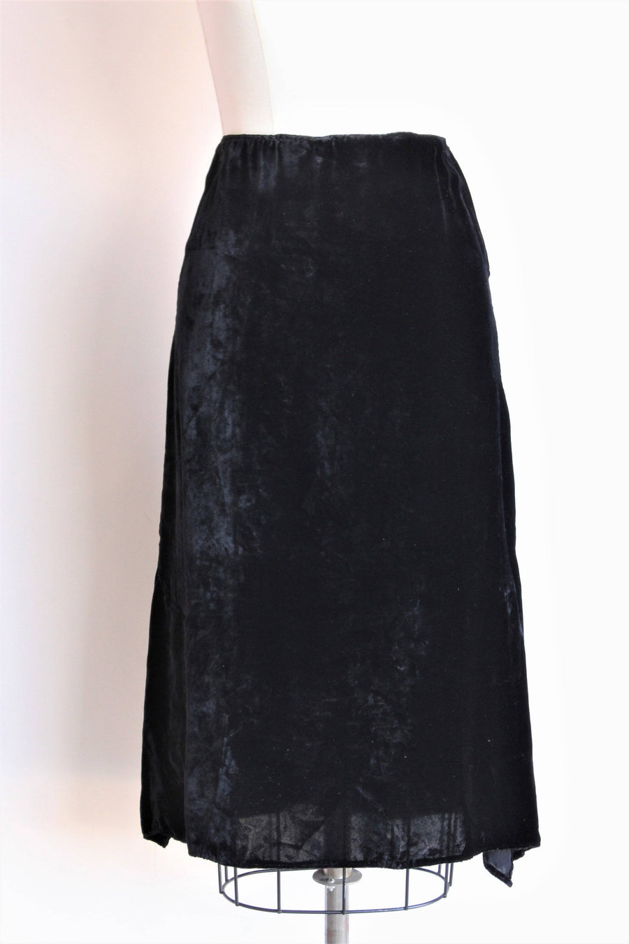 Vintage 1930s Black Silk Velvet Skirt With Side Slits