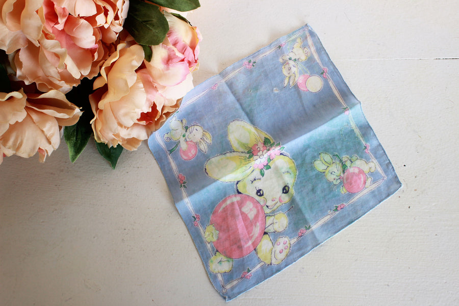 Vintage Cotton Handkerchief With Bunny Rabbit Novelty Print