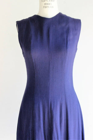 Vintage 1950s Navy Blue Sleeveless Summer Dress