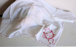 Vintage 1950s Teapot Embroidered Tablecloth or towel