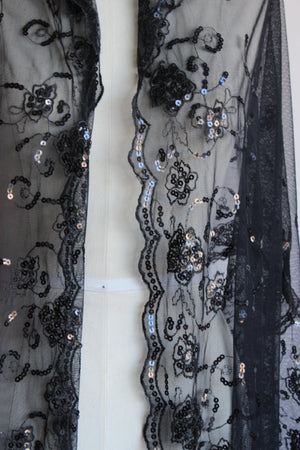 Vintage 1990s Black Lace and Sequin Scarf or Wrap.