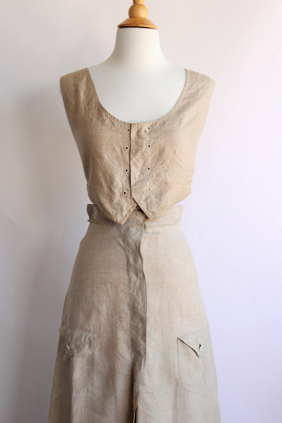 Antique 1910s Linen Skirt and Waistcoat