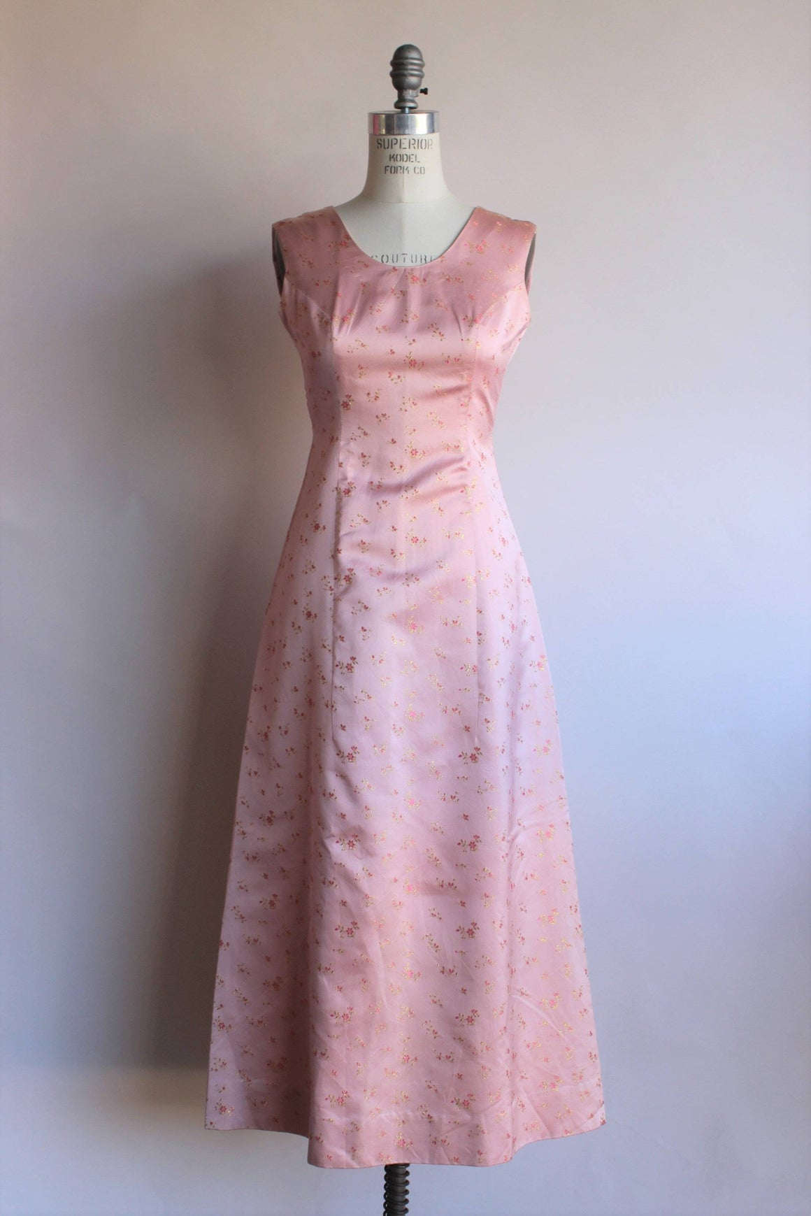 Vintage 1960s Pink Floral Embroidery Satin Maxi Dress