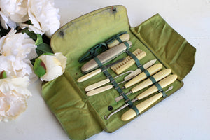 Vintage 1920s 1930s Grooming Kit,  Art Deco Black Leather with Green Silk Lining