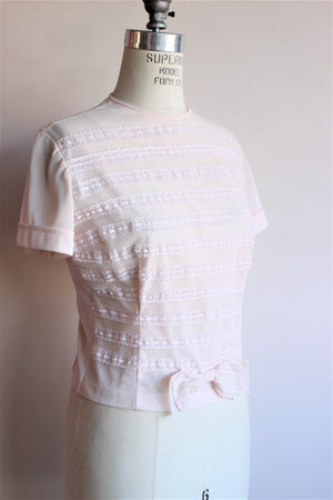 Vintage 1950s Ruffled Blouse In Pink