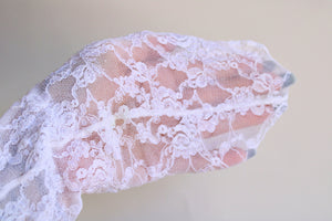 Vintage 1990s White Lace Seamed Stockings
