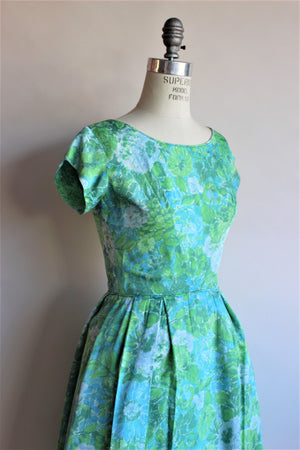 Vintage 1950s 1960s Blue Rose Fit And Flare Dress by Elinor Gay
