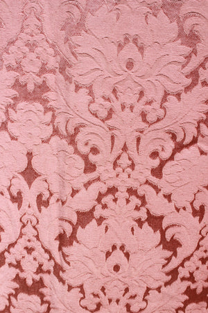 Vintage 1940s 1950s Curtain Panel in Pink Damask