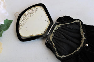 Antique 1910s Black Velvet Reticule with Beaded Flower and Mirror