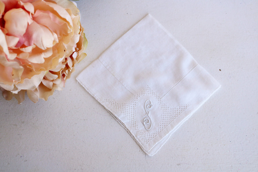 Vintage Handkerchief with Monogrammed F