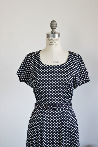 Vintage 1950s Polkadot Dress With Belt / Navy Blue And White Casualmaker by Sy Frankl
