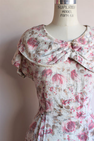 Vintage Late 1940s Watercolor Pink Floral Dress by Princess